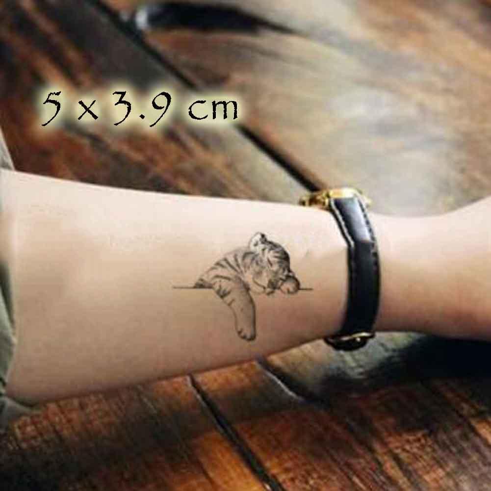Panda Superstore 5 Sheets Cute Tiger Black Temporary Tattoos Body Art Stickers Waterproof Fake Ta